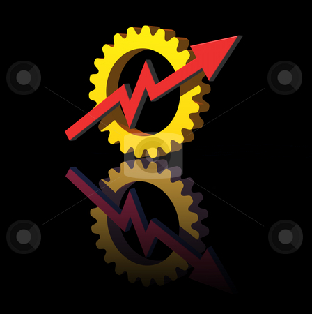 Industry report stock photo, Gear-graph logo on black  background - 3d illustration by J?