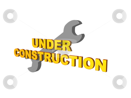 Under construction stock photo, Under costruction text and wrench on white background - 3d illustration by J?