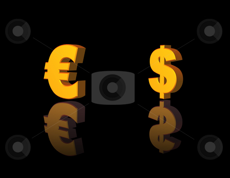 Money stock photo, Golden dollar and euro symbol on black background - 3d illustration by J?