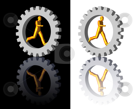 Gear-man logo stock photo, Gear-man logo on white and black backgrounds - 3d illustration by J?