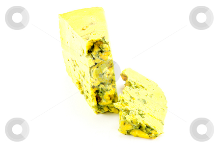 Blue Cheese stock photo, Piece of blue cheese with clipping path on a white background by Keith Wilson