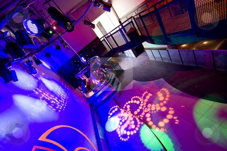 Nightclub interior stock photo, Interior of an empty nightclub with its lights blazing by Corepics VOF