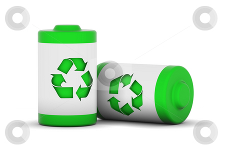 Green Power stock photo, Two batteries with recycle logo by Nuno Andre