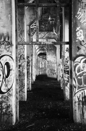Philly Graffiti stock photo, Graffiti in ruined building located in Philadelphia, PA. by Eric Lukavsky