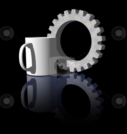 Breakfast stock photo, Mug and gearwheel on black background - 3d illustration by J?