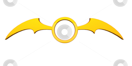 Batwings stock photo, Ring with batwings  logo on white background - 3d illustration by J?