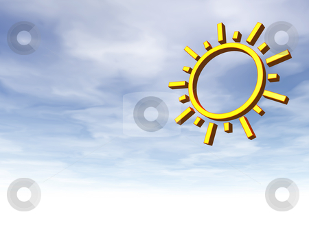 Sun stock photo, Simple sun symbol on cloudy sky background - 3d illustration by J?