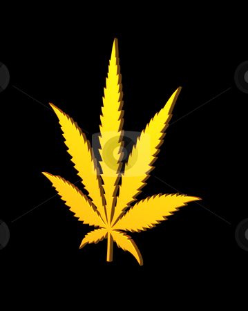 Hemp stock photo, Golden hemp symbol on black background - 3d illustration by J?