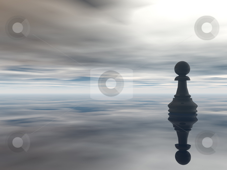 Chess stock photo, Chess pawn and cloudy sky - 3d illustration by J?
