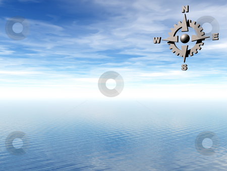 Navigation stock photo, Compass and water landscape in background - 3d illustration by J?
