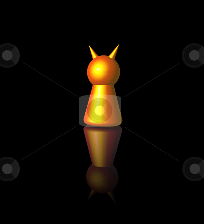 Evil stock photo, Golden devil play figure on black background - 3d illustration by J?