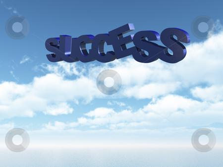 Success stock photo, Success text in the sky - 3d illustration by J?