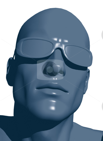 Human head stock photo, Plastic human head with sunglasses - 3d illustration by J?