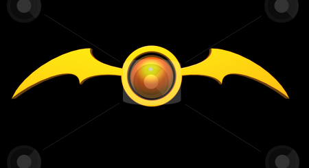 Bat stock photo, Ball with batwings  logo on black background - 3d illustration by J?
