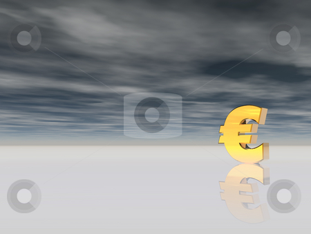 Euro stock photo, Golden euro sign on cloudy background - 3d illustration by J?