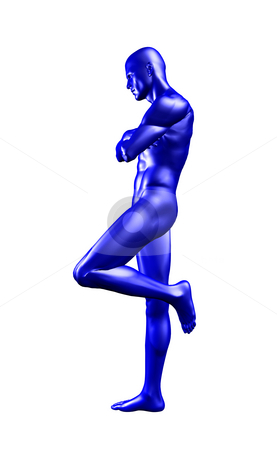 Blue stock photo, Blue man figure lean on what you want - 3d illustration by J?