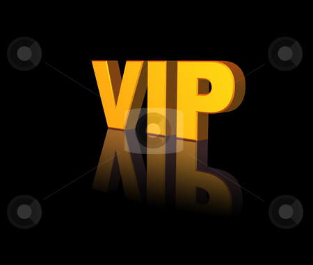 Vip stock photo, Golden vip text on black background - 3d illustration by J?