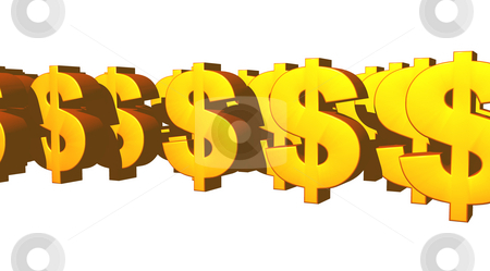 Dollars stock photo, Golden dollar symbols on white background - 3d illustration by J?