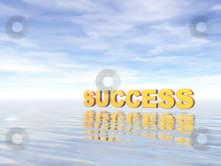Success stock photo, Success text in 3d at water landscape by J?