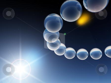 Orbit stock photo, Glass balls in orbit - 3d illustration by J?