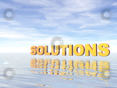 Solutions stock photo, Solutions text and water landscape - 3d illustration by J?
