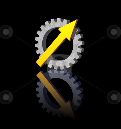 Gear pointer stock photo, Gear-pointer logo on black background - 3d illustration by J?