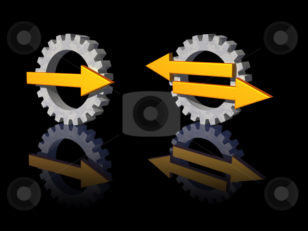 Gear pointer logo stock photo, Gear-pointer logos on black background - 3d illustration by J?