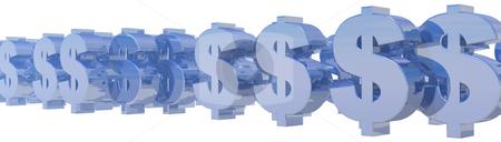 Dollars stock photo, Metallic dollar symbols on white background - 3d illustration by J?