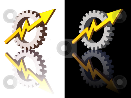 Gear stock photo, Gear-graph logos on black and white background - 3d illustration by J?