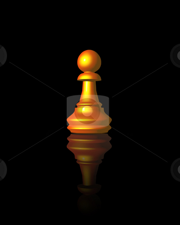 Pawn stock photo, Golden chess pawn on black background - 3d illustration by J?