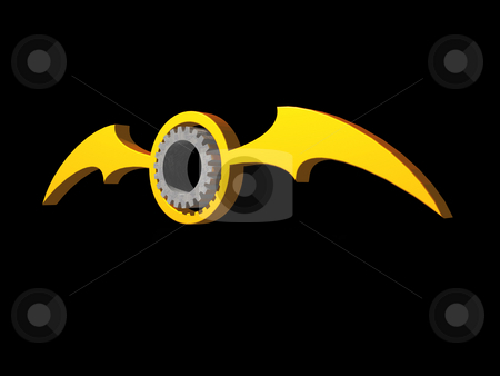 Batwings gear logo stock photo, Batwings gear logo on black background - 3d illustration by J?