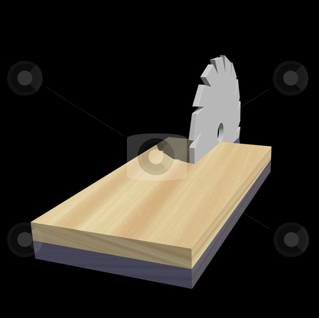 Carpenter stock photo, Saw blade and wood on black background - 3d illustration by J?