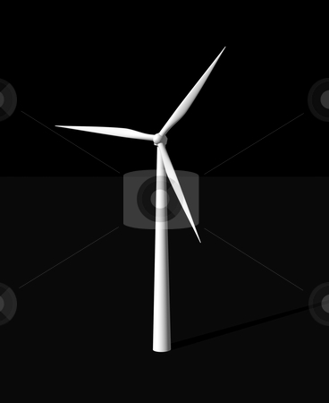 Wind power stock photo, Wind mill on black background - 3d illustration by J?