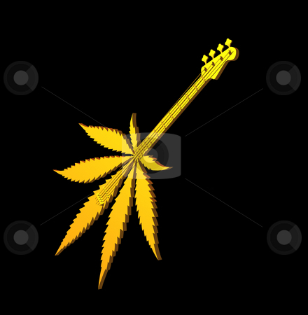 Stoner rock stock photo, Golden hemp guitar on black background - 3d illustration by J?