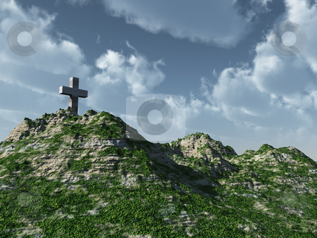 Cross stock photo, Christian cross monument - 3d illustration by J?