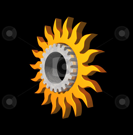 Sun gear logo stock photo, Simple sun symbol and gearwheel on black background - 3d logo illustration by J?