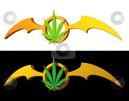 Stoned gothic stock photo, Hemp symbol and batwings on black and white background - 3d illustration by J?