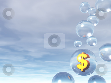 Bubles and dollar sign stock photo, Bubles and golden dollar sign - 3d illustration by J?