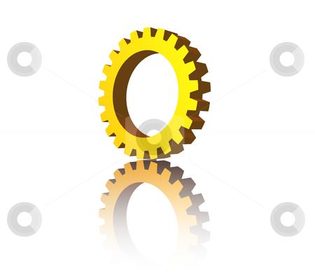 Gear stock photo, Golden gear wheel on white background - 3d illustration by J?