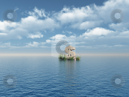 Dollar monument stock photo, Dollar symbol monument at the ocean - 3d illustration by J?