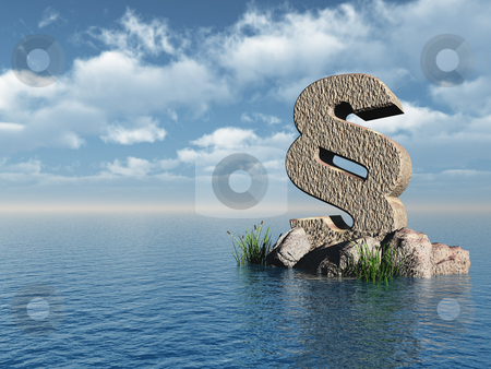 Paragraph stock photo, Paragraph monument at water landscape - 3d illustration by J?