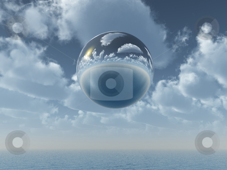 Mirror ball stock photo, Mirror ball fly over the ocean - 3d illustration by J?