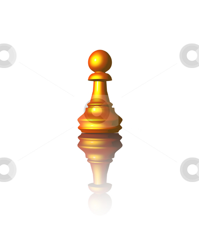 Chess stock photo, Golden chess pawn on white background - 3d illustration by J?