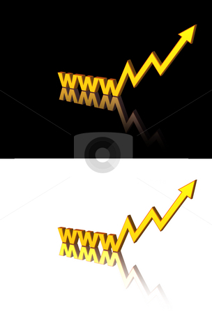 Web trend stock photo, Golden www letters with business graph- 3d illustration by J?