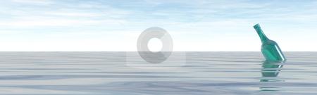 Sos stock photo, Green bottle in the ocean - 3d illustration banner by J?