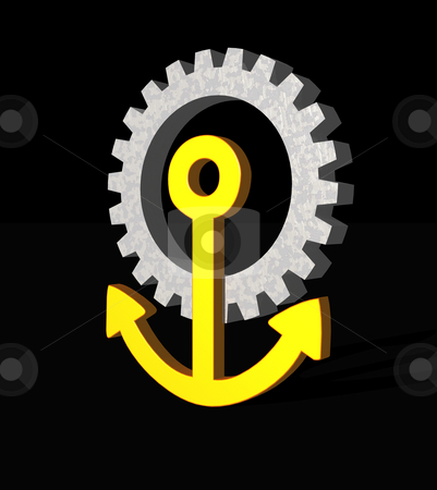 Anchor stock photo, Anchor gear logo on black  background - 3d illustration by J?