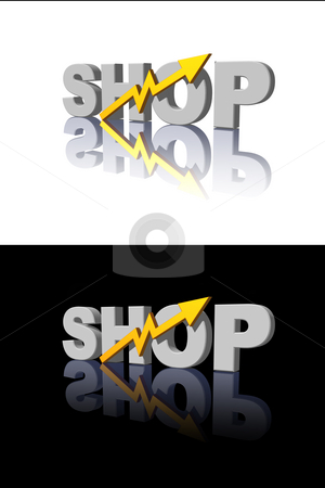 Shop stock photo, Shop text and business curve on black and white  background - 3d illustration by J?