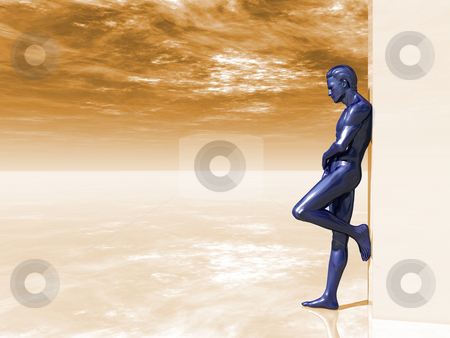 Lean on stock photo, Blue human man figure on big blank box - 3d illustration by J?