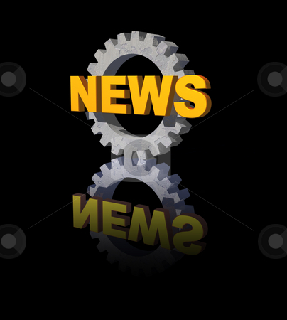 News stock photo, News text and gearwheel on black background - 3d illustration by J?