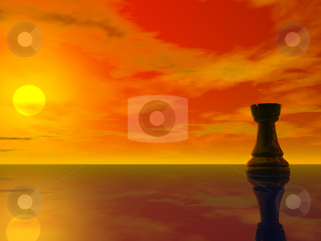 Rook stock photo, Black chess rook on sun rising background - 3d illustration by J?